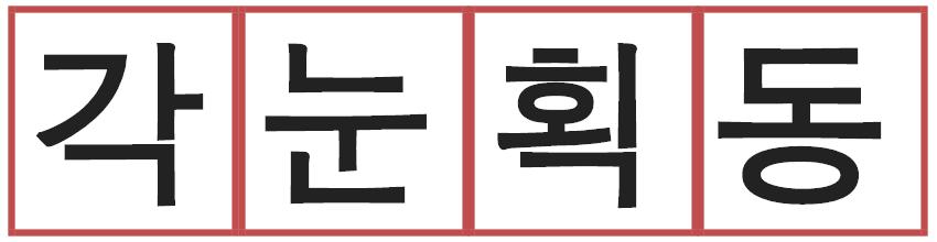 Exemple de syllabes à trois lettres en coréen